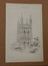 Antique Architects Print central Tower Gloucester Cathedral The Builder 1886