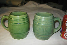 A 00004000 Ntique Mccoy Hull Usa Country Kitchen Stoneware Coffee Tea Matte Green Keg Mug