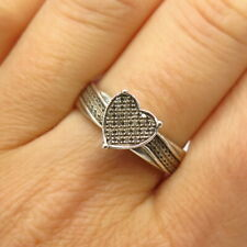 925 Sterling Silver Pave Real Diamond Heart Design Ring Size 10