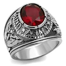Stainless Steel United States USA US Army Military Red CZ Silver Tone Ring