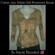 Cubism Vintage Style Jazz Babies Ball Musician Top Rhinestones Retro Art 20s M