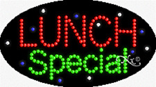 """New """"Lunch Special"""" 27x15 Oval Solid/Animated Led Sign w/Custom Options 24244"""