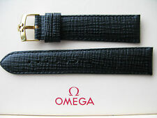 Brand New 21mm Black Leather Strap & Vintage 18mm Omega Gold Plated Buckle