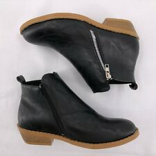 Womens Booties Low Heels Ankle Boots Size 8 Round Toe Zip Up Slip On Shoes NEW