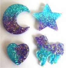 4 BELLISSIMI Luccicante Unicorno stella luna cuore-mozzafiato Flatback RESINA SCRAPBOOK