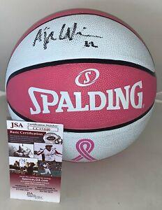 A'ja Wilson Las Vegas Aces signed F/S Pink WNBA Basketball Ball autographed JSA