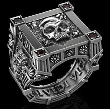 Gothic Skull Men's Rings Skeleton Biker Punk Red Round Cut 925 Sterling Silver