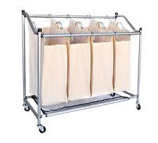BITUXX Wäschewagen Wäschesortierer Wäschebox Wäschesammler Wäschekorb Beige