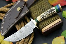 Custom Damascus Steel Hunting Knife Handmade With Stag Horn Handle (Z203)