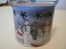 SNOWMAN PAIL with HANDLE and Lid CHRISTMAS Snowflake holes Winter Wonderland
