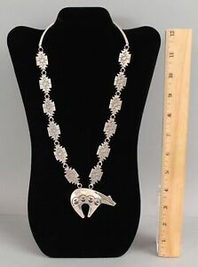 Authentic Western Hopi Indian Handmade Sterling Silver Bear Fetish Necklace NR