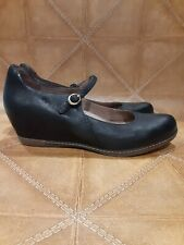 Dansko Mary Jane Black Leather Covered Wedges Heel, Size 42, Heel Height 2""