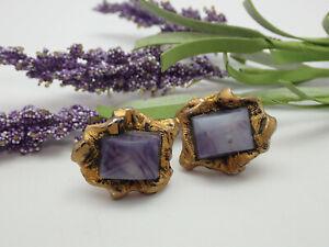Vintage Purple Slag Art Glass Brutalist Modern Free Form Gold Tone Cuff Links