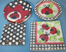 Lady Bug Spring Summer Party Plates & Napkins Red Black White Lot of 5