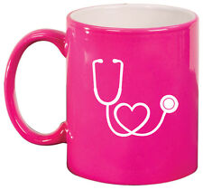 11oz Ceramic Coffee Tea Mug Glass Cup Stethoscope in Shape of Heart Nurse Doctor