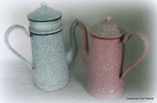 """RARE PAIR of FRENCH enameled coffee pots 11"""" AND 9 1/2"""" pink and blue speck"""