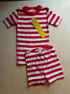 NWT HANNA ANDERSSON RED WHITE STRIPES UNISEX SHORT JOHN PAJAMAS 100 4 SOLDOUT