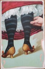 Risque 1903 Postcard: Woman's Stockings/Legs/Feet, Man Pinching - Color Litho