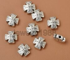20pcs Tibetan Silver Charm Cross Spacer Beads Accessories 10X5MM F3378