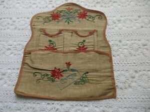 "Vintage French Embroidered Fabric Wall Pocket / Wall Tidy ""Cartes"" Letter Holder"