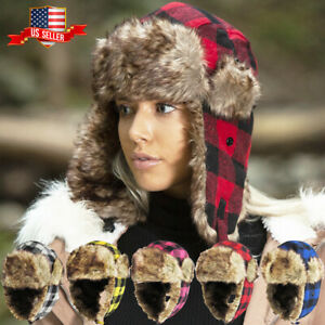 Buffalo Plaid Aviator Trapper Hat Winter Cap Ski Warm Fur Cap