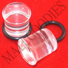 1331 Acrylic Single Flare Clear 00 Gauge 00G Plugs 10mm MallGoodies 1 Pair (2pcs