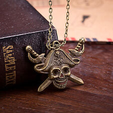 Pirates of The Caribbean Necklace Jack Sparrow Hat Skull Cross Swords Pendant