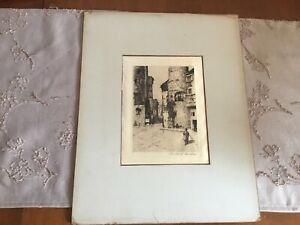 Antique Silk Etching Charles A. Platt The Gate of Barcelona 1885 Original
