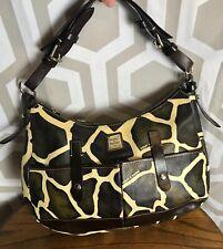 Dooney Giraffe Print Brown Ivory Leather XL Lucy Shoulder Bag Hobo EUC ShipsFree