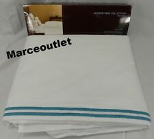 Hudson Park Italian Linens Cotton Percale QUEEN Flat Sheet White / Azure Blue