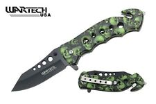"Couteau Wartech Tactical Army Camo Quick Spring Assist Rescue Knife 4.75"" Closed"