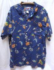 NORTH SAILS Big Island Hawaiian Aloha Camp Shirt Fish Fishing Pole Rod Reel XXL