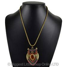 NEW Ladies Long Crystal Beaded OWL Pendant NECKLACE on Chain Cute Statement
