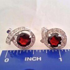 GARNET & PLATINUM OVER 925 STERLING SILVER Stud Earrings w lever back & CZ
