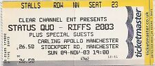 USED CONCERT TICKET - STATUS QUO - CARLING APOLLO MANCHESTER 9th NOVEMBER 2003