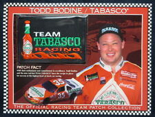 TODD BODINE / TEAM TABASCO RACING Willabee & Ward NASCAR RACE PATCH + Info Card