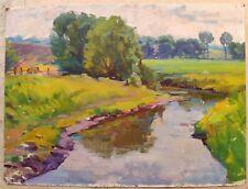 Russian Ukrainian Soviet Oil Painting impressionism landscape river meadow