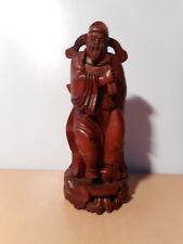 Statue sculpture chinoise bois sculpté personnage dignitaire chinois Chine