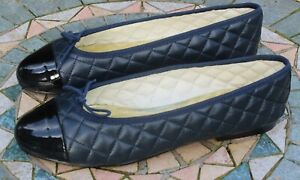 FRENCH SOLE Jane Winkworth Navy Quilted Black Patent Toe Ballet Flats - 42 UK 9