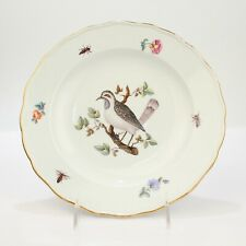 Antique 18th C. Ornithological Meissen Porcelain Plate - Bird Insects Flowers PC