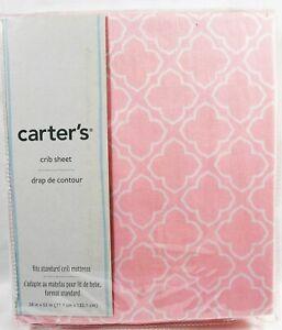 Carter's Pink Trellis Fitted Crib Sheet For Std Crib Mattress 100% Cotton NEW