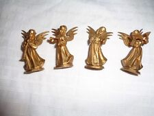 VTG SET OF 4 GOLD CHRISTMAS ANGEL FIGURINES HONG KONG  t