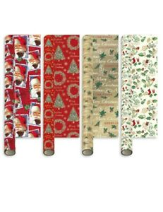 8 X 5M TRADITIONAL ROLLS CHRISTMAS XMAS WRAPPING PAPER ASSORTED SANTA ROBIN