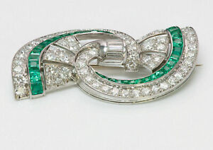 2.00 Ct Princess Cut Emerald & Diamond Antique Pin Brooch 14K White Gold Over
