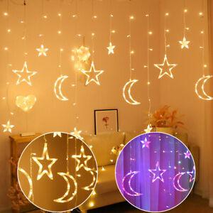 Sternen Lichterkette LED Lichternetz Sternenvorhang Weihnachten Lichtervorhang