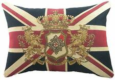 """Union Jack Tapestry Quality Filled Cushion 18""""x 13"""" Traditional Lion Crest UK"""