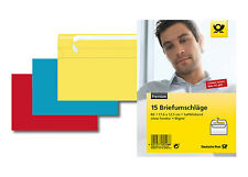 Enveloppes DIN B6 15 Pièces de couleur rouge jaune bleu Deutsche Post Enveloppes
