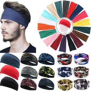 Men Wide Headband Sweatband Stretch Sweat Elastic Sport Yoga Run Solid Hairbands