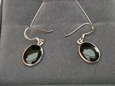 Tuscany Sterling Silver Oval Onyx Drop Earrings BNIB