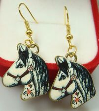 "Simple Drop Elegant Women Earring K9yh 925 Silver Plated Hook -2.1""horse Animals"